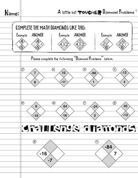 Math Diamond Problems Worksheet Bundle (Factoring Trinomials
