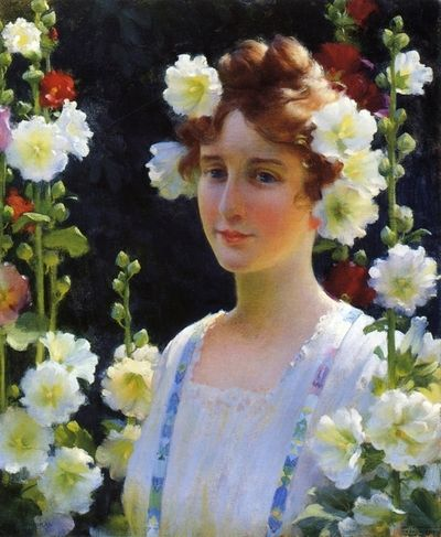 among the hollyhocks, childe hassam