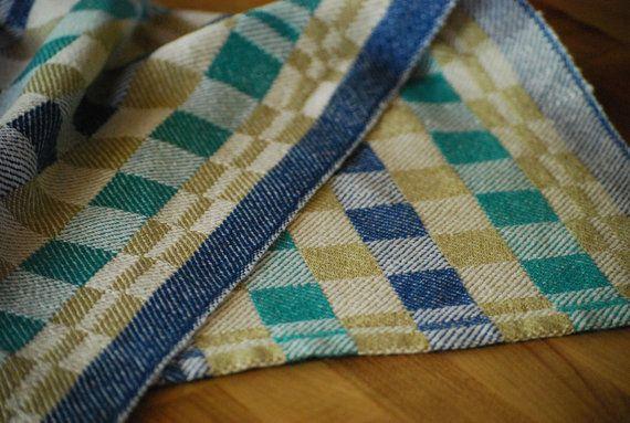 Tea Towel Quarters Handwoven Cotton/Linen White by HandwovenHome