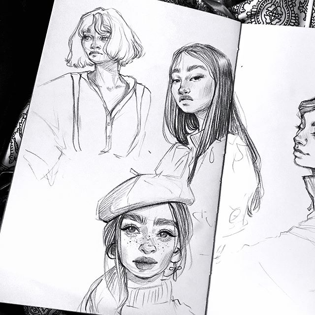 Photo of character design sketches