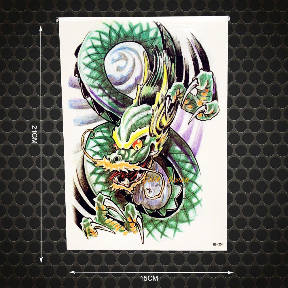 Cool dragon ball paw temporary tattoo men body art arm