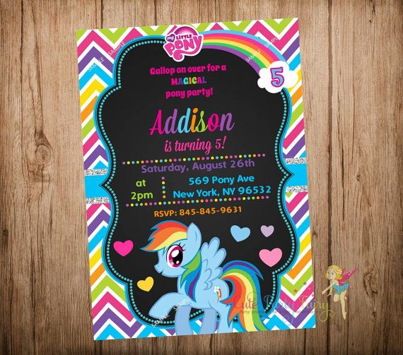 My Little Pony Birthday Invitation Rainbow Dash Party Chalkboard Digital Printable File