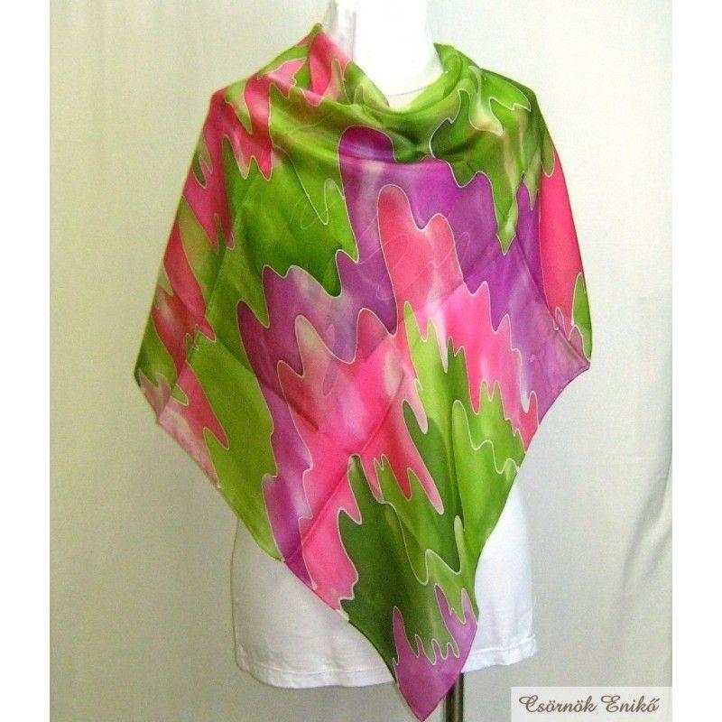Ciklámen-pink-zöld selyemkendő. Kézzel festett, egyedi darab.