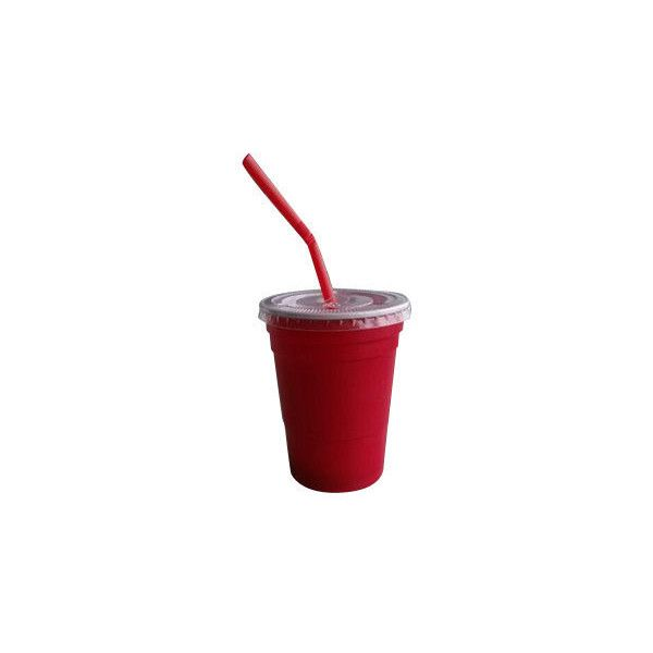 10oz Disposable Plastic Red Party Cup With Lid And Straw For Games 740 Uyu Liked On Polyvore Featuring Drinks Food Fillers Red Party Cups Red Party