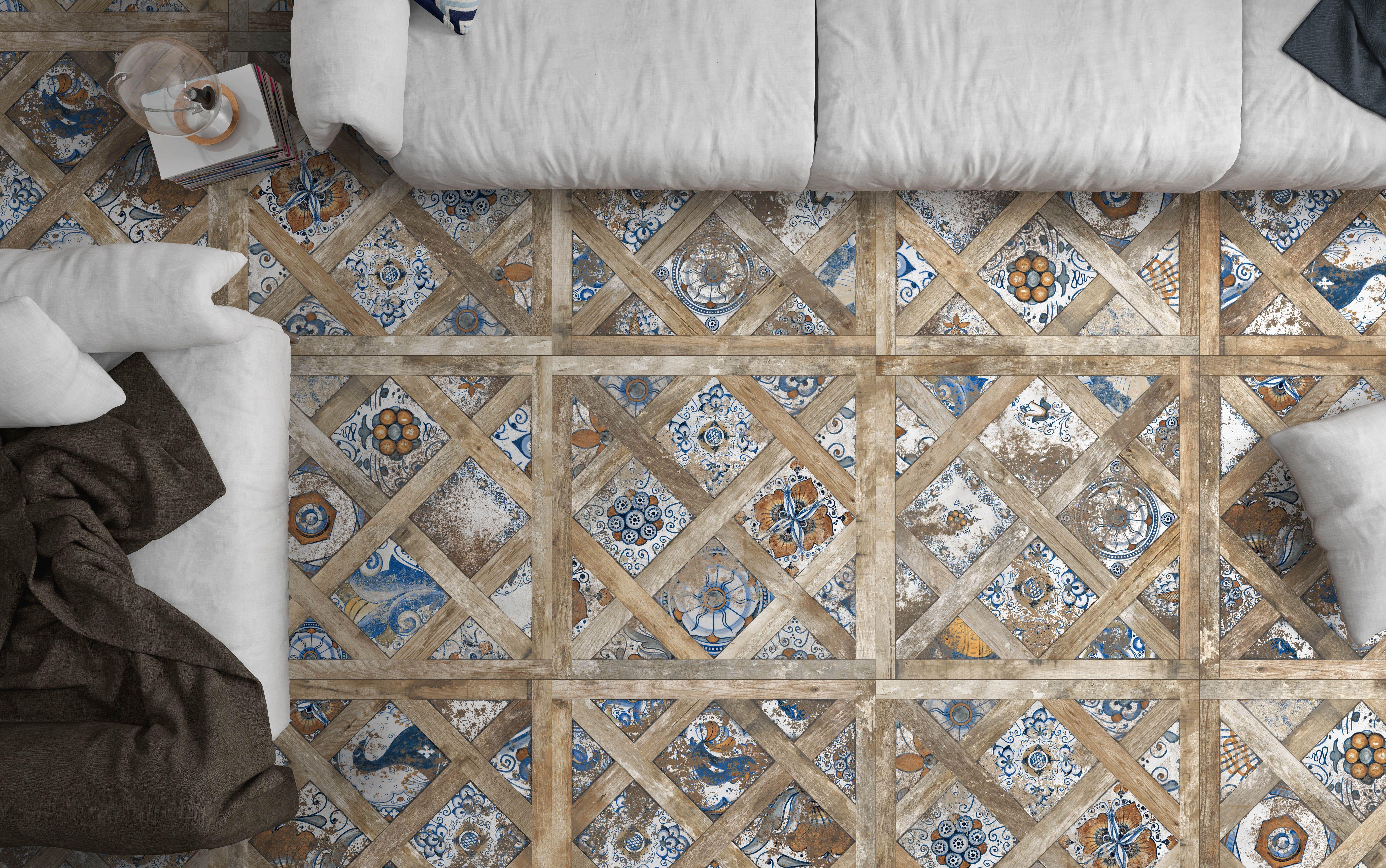 Gres porcellanato decorato per il pavimento effetto cementina