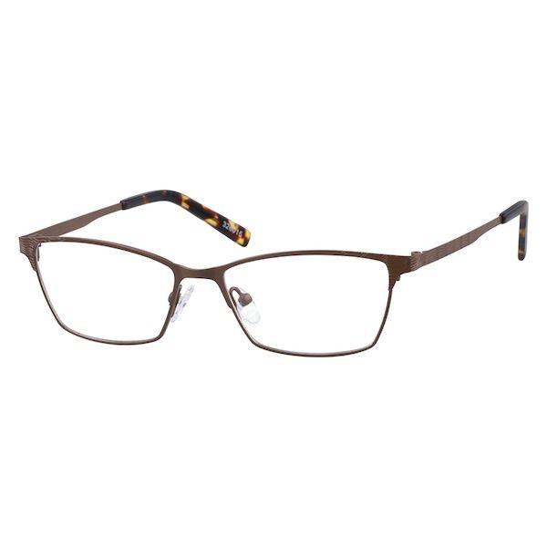 4ba5abaf67132 Zenni Womens Cat-Eye Prescription Eyeglasses Brown Tortoiseshell Stainless  Steel 326015