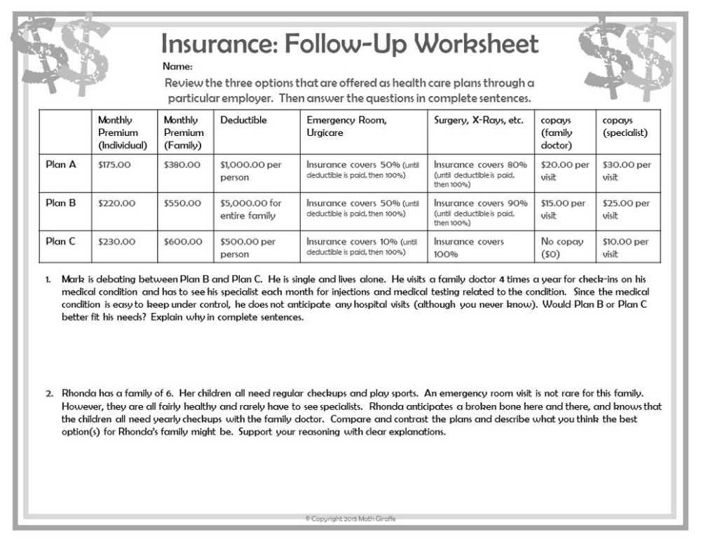 Worksheets On Understanding Financial Literacy Google Search Consumer Math Free Printable Math Worksheets Math Worksheet
