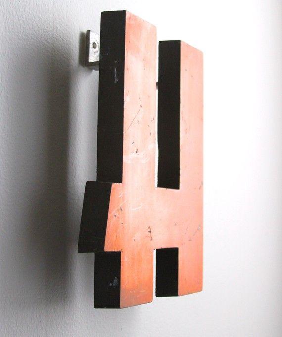 vintage metal orange sign letters medium h by lacklusterco