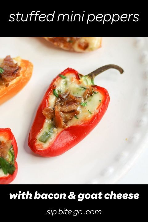 Bacon and Goat Cheese Stuffed Mini Peppers  Sip Bite Go VIDEO Stuffed mini peppers with bacon goat cheese and jalapenos These stuffed sweet peppers are an easy low carb a...