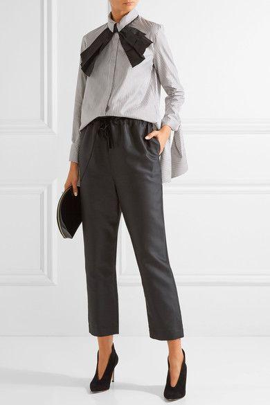 Charcoal and white cotton and silk-blend Partially concealed button fastenings through front 75% cotton, 25% silk; trim: 100% silk Dry clean Designer color: Domino  Made in the UK