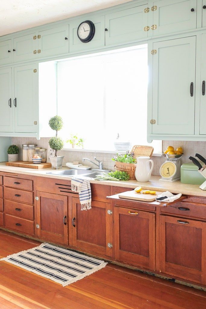 Farmhouse Kitchen, Mint Upper Cabinets, Wood lowers | Mamas Dance ...