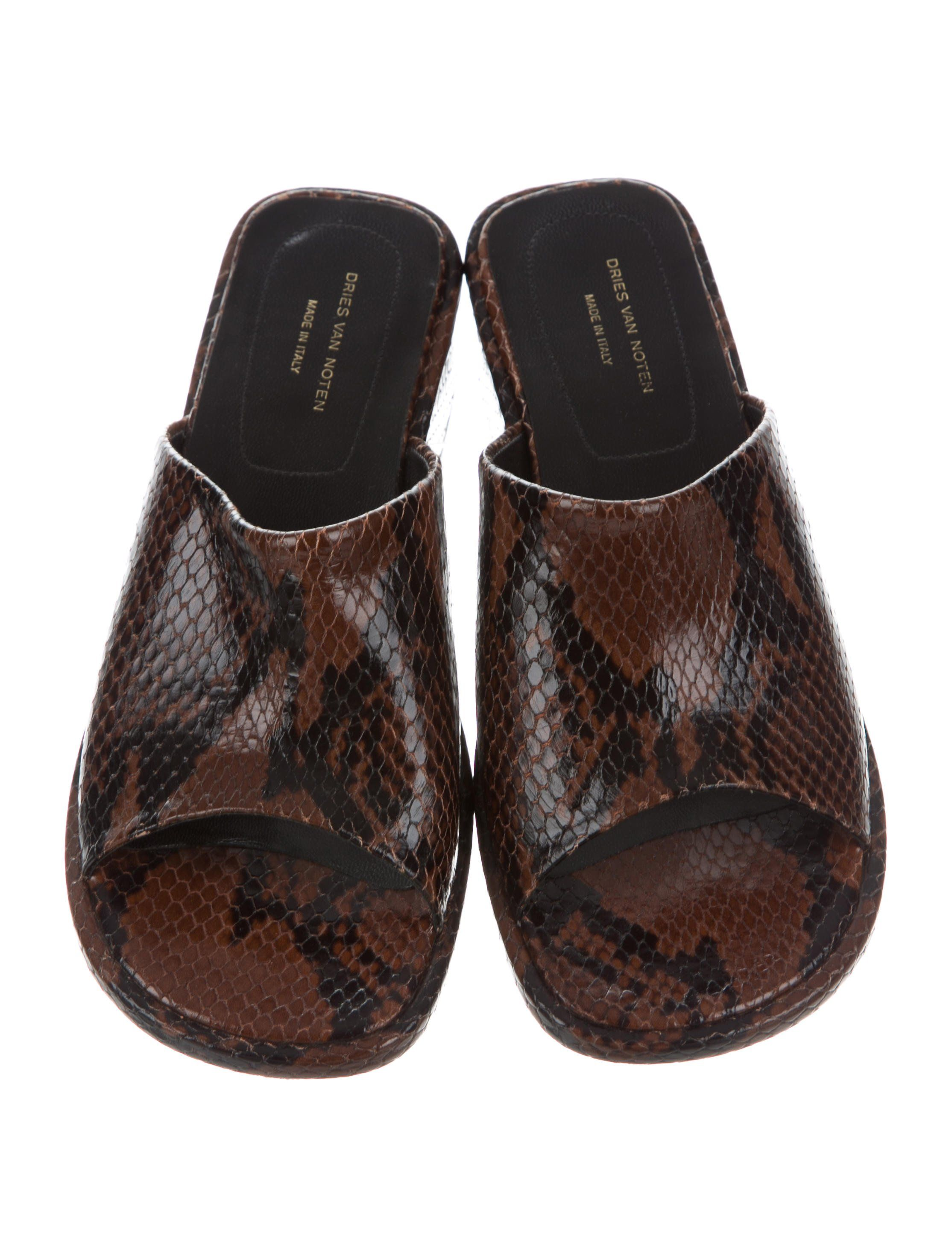 e2b55bdbbe Brown python Dries Van Noten slide sandals with square-toe and covered  heels. Includes box and dust bag. Unfortunately