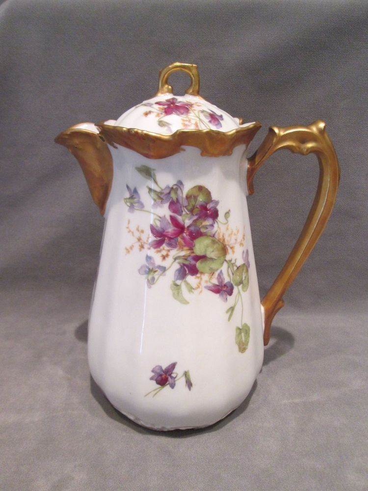 Limoges Coronet France Coffee Pot Heavy Gold & Violets Hand Painted ...