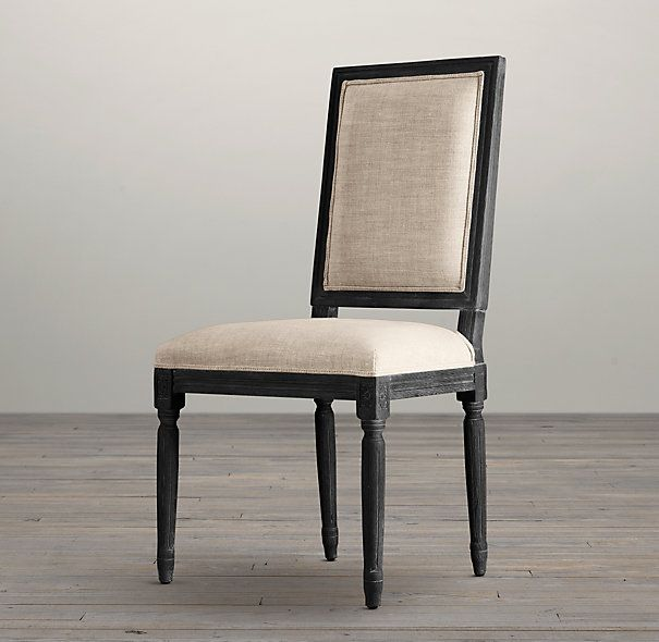 upholstered dining room chairs with arms swivel chair vintage french square side fabric arm restoration hardware
