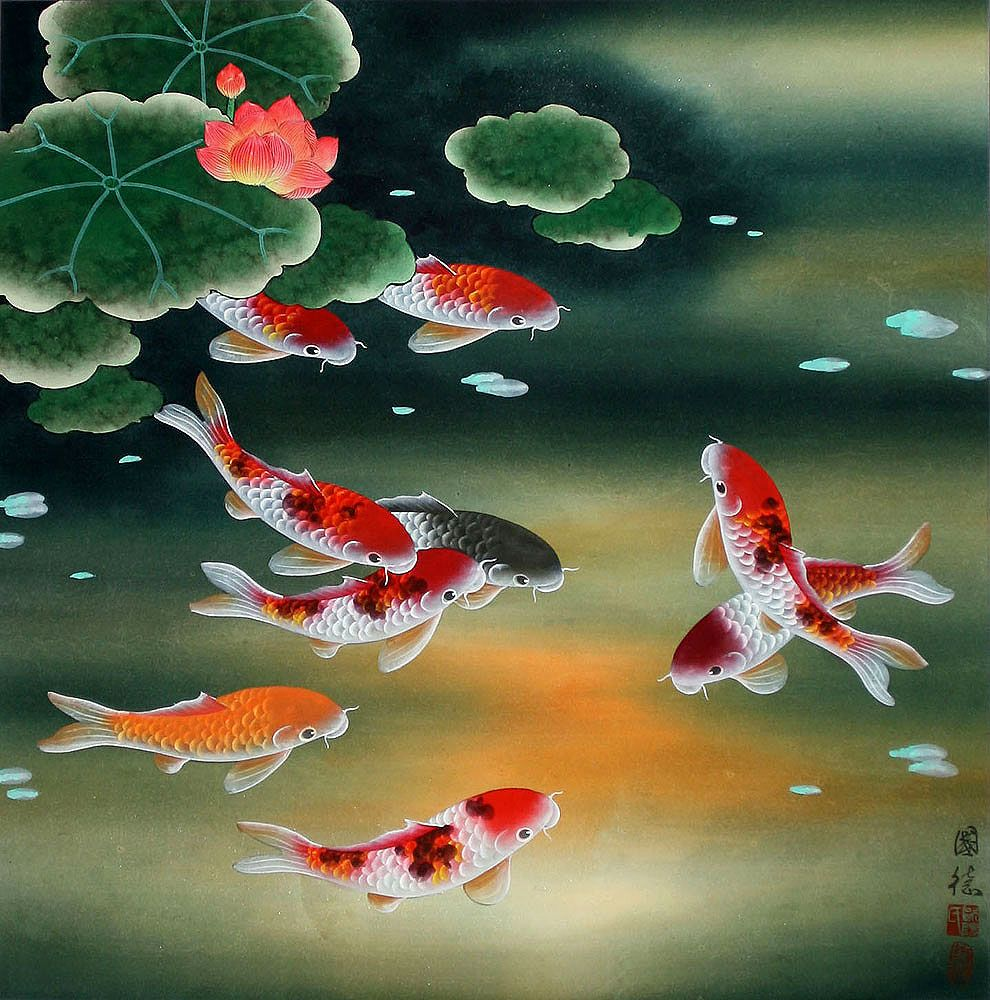 Koi art nine koi fish and lotus flowers painting asian for Japanese fish painting