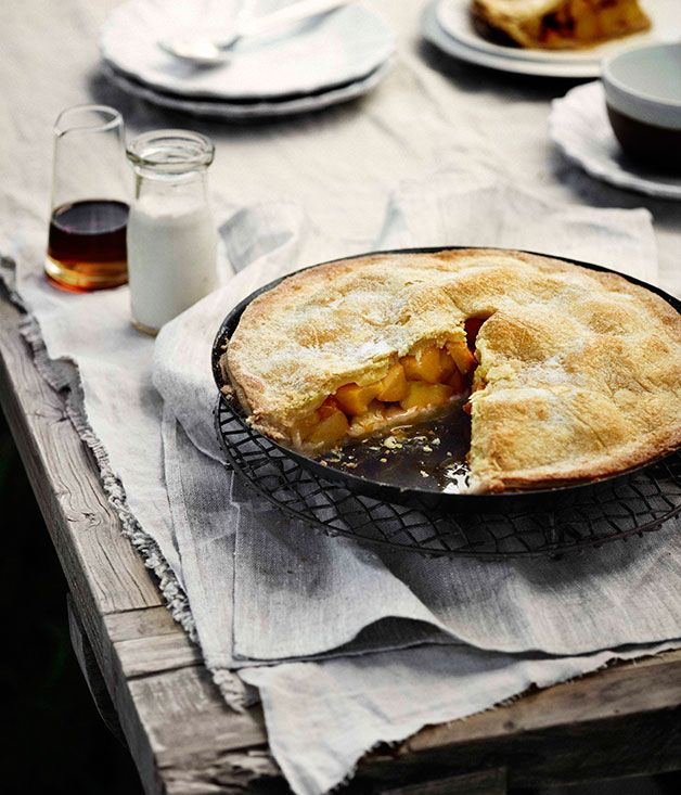 Australian Gourmet Traveller recipe for sugar-crusted peach pie with almond cream.