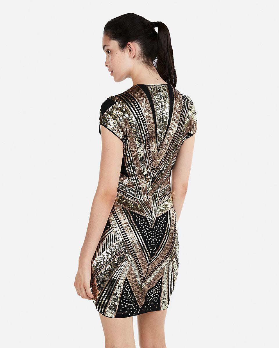 Perfect New Year S Eve Dress Sequin Cap Sleeve Deep V Neck Mini Express Newyearsdress Sequindress Ad Golddress Blackandgold