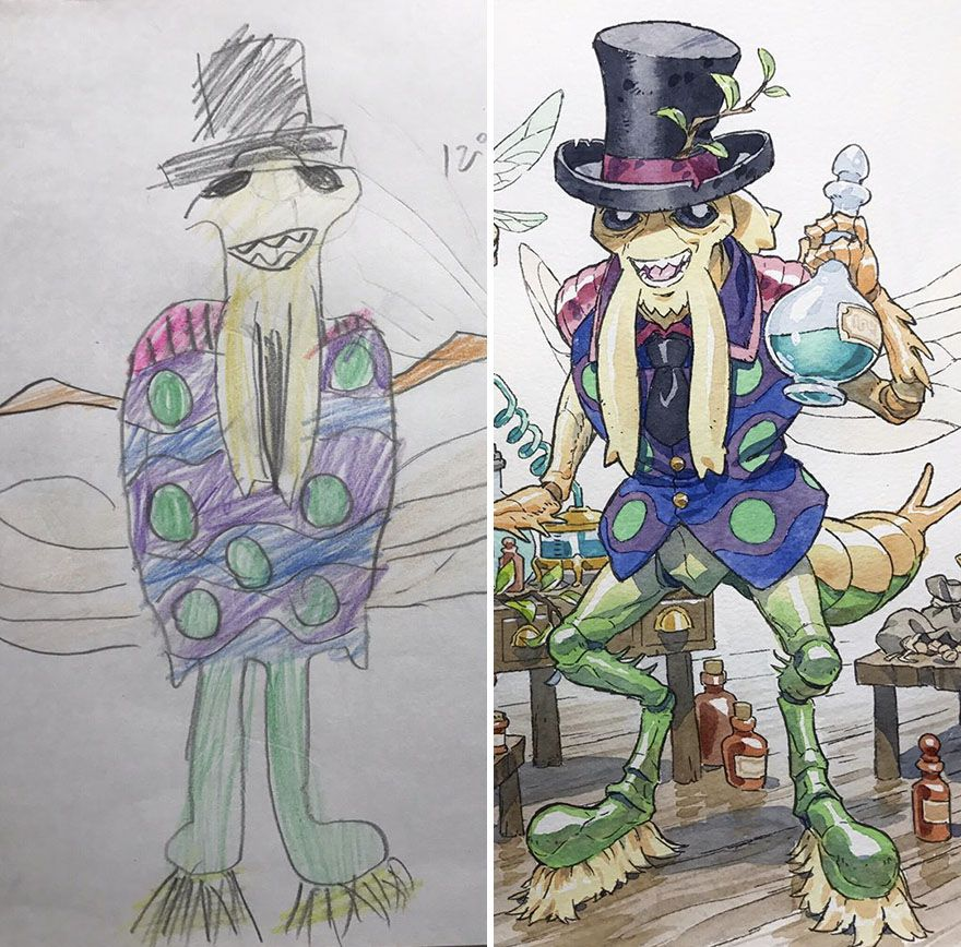 Dad Turns His Sons Doodles Into Anime Characters And The Result Is Amazing Part Iii Thomas Romain Anime Drawings Anime Characters
