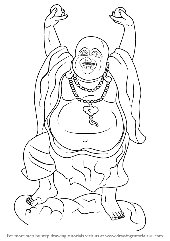 How to Draw a Laughing Buddha - DrawingTutorials101.com | Laughing ...