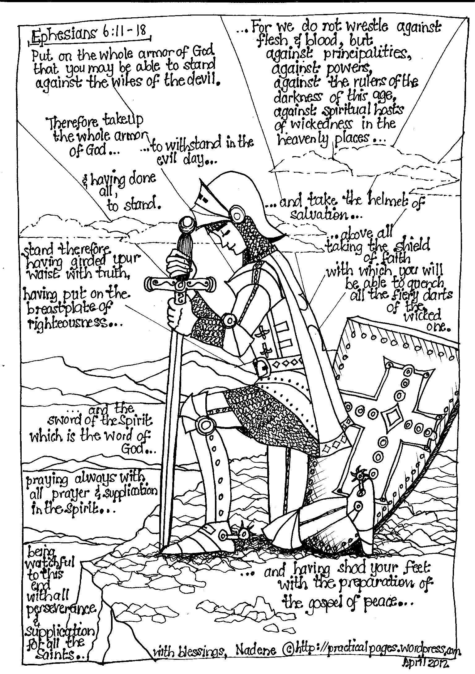 Ephesians 6 coloring pages - Ephesians 6 The Armour Of God Blessed Beyond Measure Bible Coloring Pagescoloring