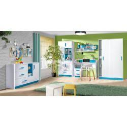 Kinderzimmer - Drehtürenschrank / Kleiderschrank Frank 01, Farbe: Weiß / Blau - 189 x 90 x 50 cm (H