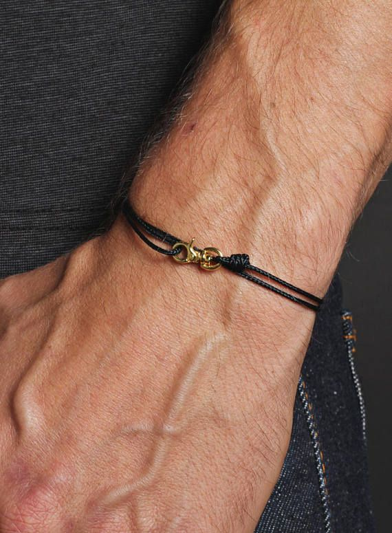 Men S Bracelet Minimalist Black For Thin Cord And Gold