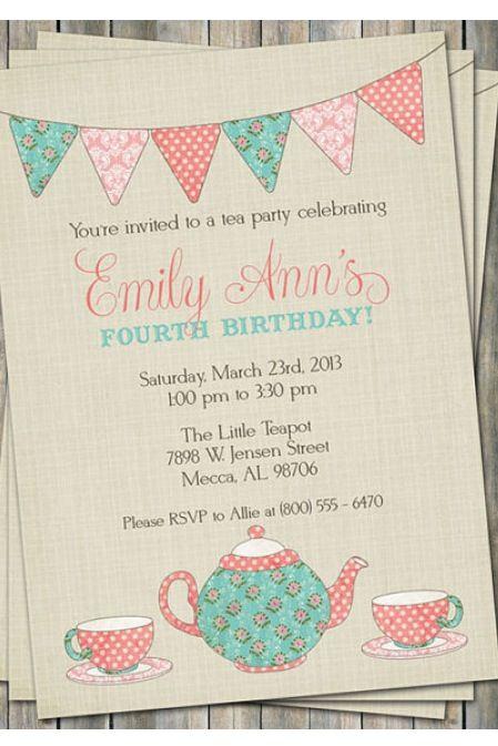 Tea party invitations on etsy Sawyer\u0027s 3rd Pinterest Tea party