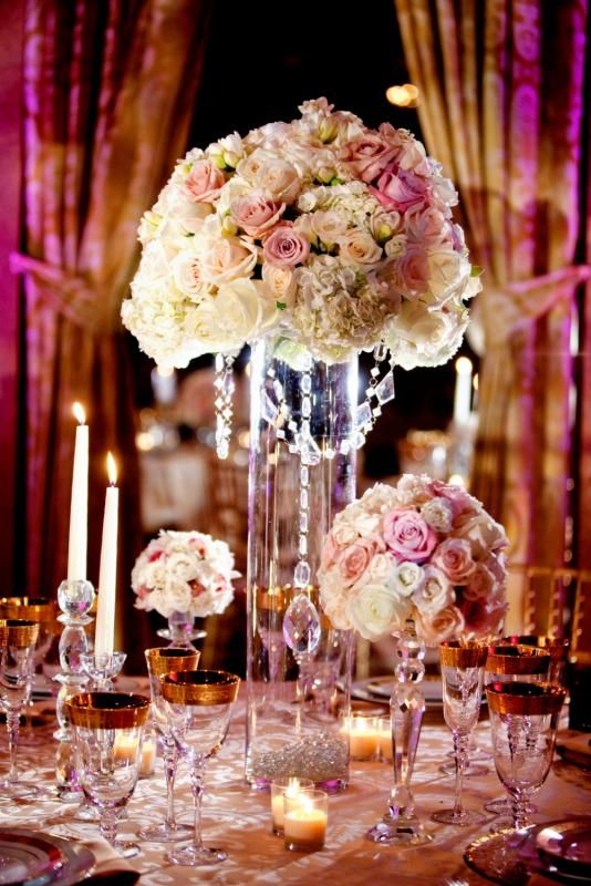 So pretty - so rich looking wedding centerpiece.