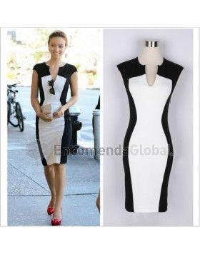 705573a934ecc Vestido Estampado Preto e Branco Dress Casual