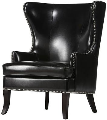 HOME DECORATORS MOORE WINGBACK CHAIR BLACK LEATHER
