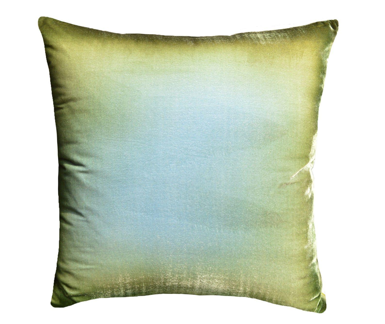 High-End Green Ombré Velvet Throw Pillow Cover, Hand Painted Ombre on Luxurious Silk Velvet. Green Ombre throw pillow by Fabric17 Studio