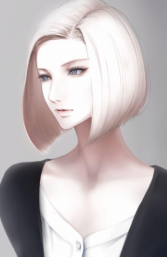 Anime Characters Grey Hair : Erise unnaturally white skin realistic bob cut anime