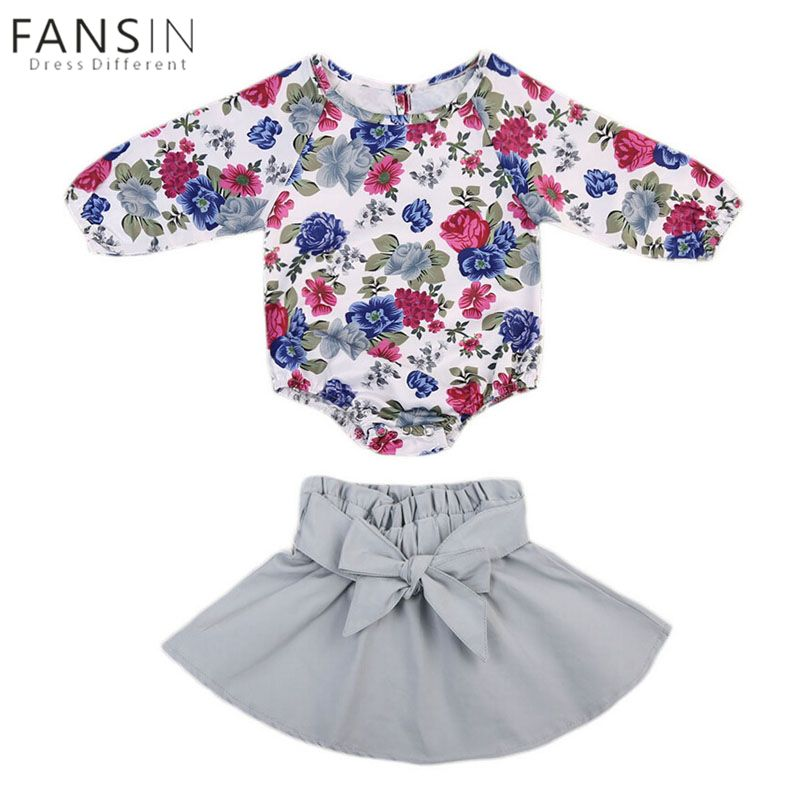 f8b1aa11b16d2 Newborn Baby Girl Clothes Set Long Sleeve Floral Flower Romper + Skirt Infant  Toddler Infant Clothes Jumpsuit Outfits Clothing
