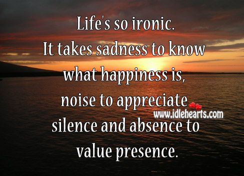 Value Of Life Quotes New Life's So Ironicit Takes Sadness To Know What Happiness Is