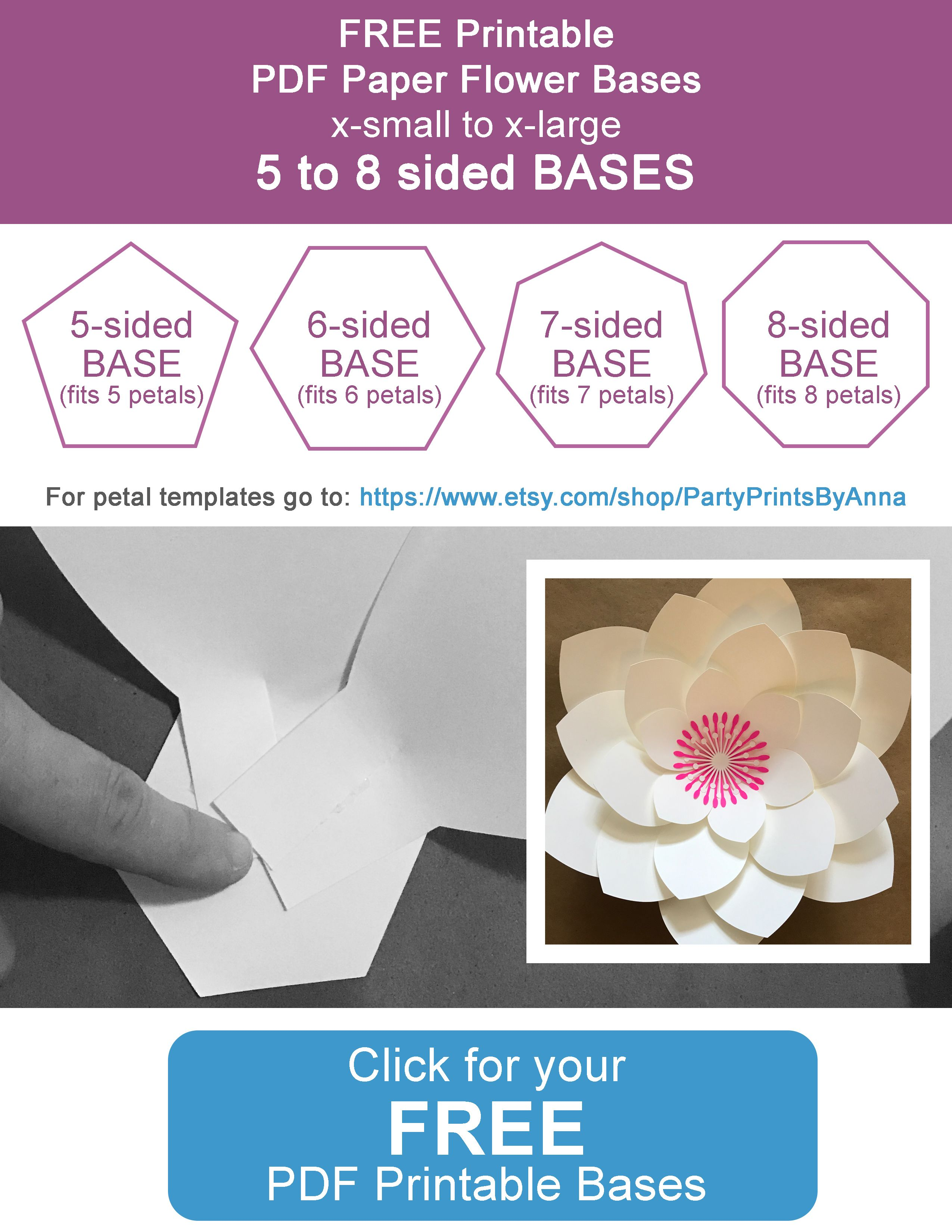 Free Printable Paper Flower Bases 5 8 Sided Large Paper