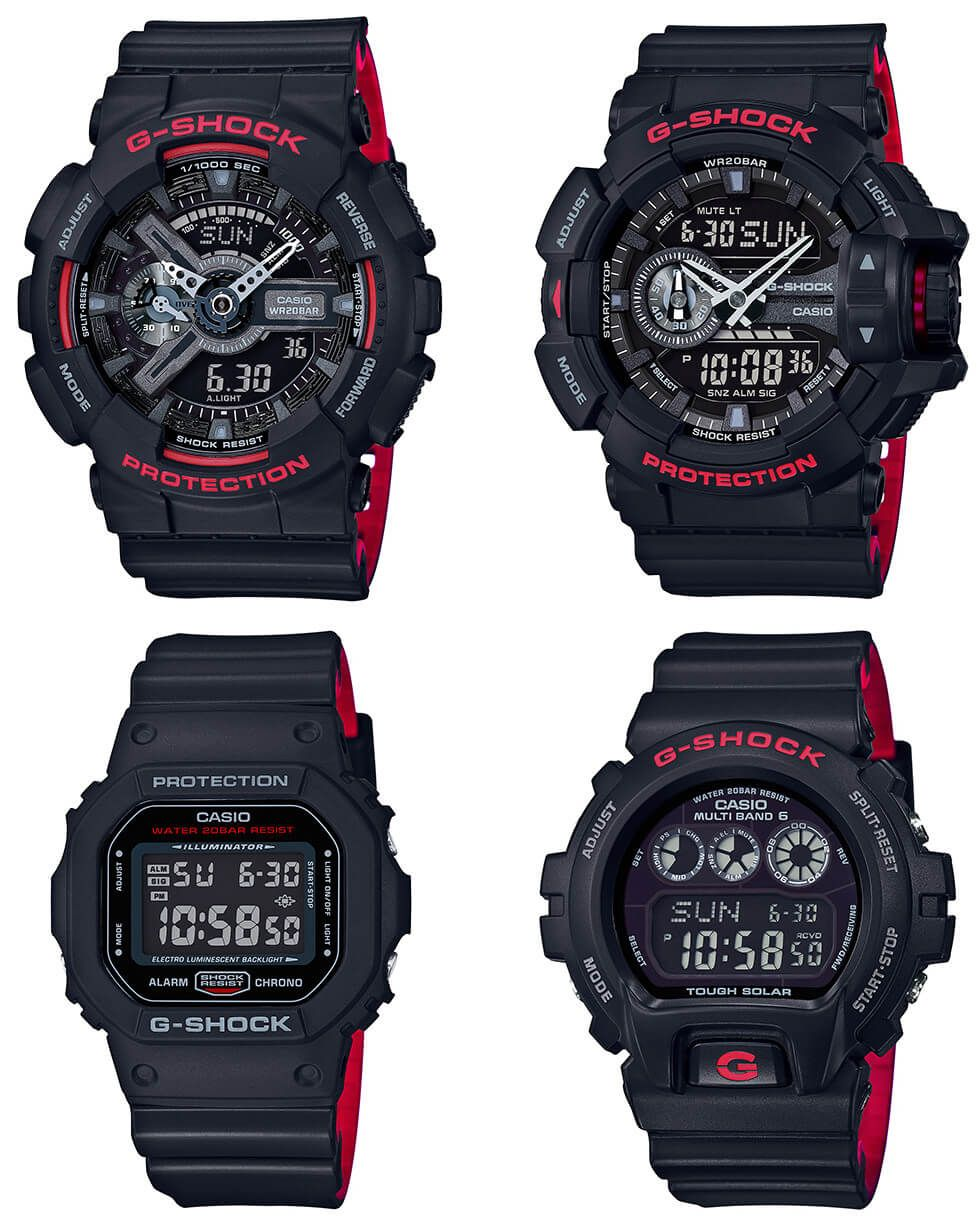84df9949f45 G-Shock Black and Red Series DW-5600HR-1JF GW-6900HR-1JF GA-110HR-1AJF GA -400HR-1AJF