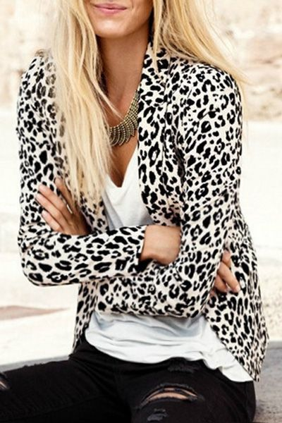 Leopard Lapel Neck Long Sleeve Blazer