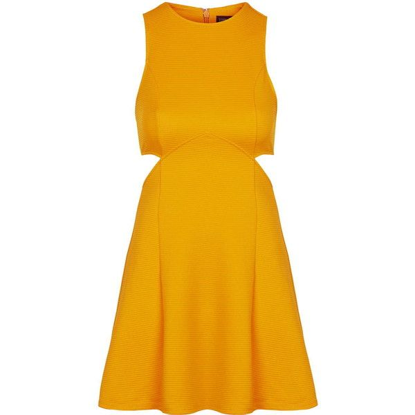 TopShop Rib Cut-Out Skater (460 NOK) ❤ liked on Polyvore featuring dresses, marigold, yellow party dress, skater dress, yellow skater dress, cut out dress and jersey dress