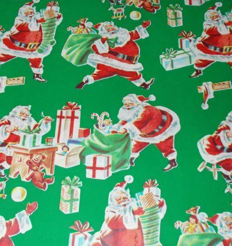 Vtg Christmas Wrapping Paper Gift Wrap Mid Century Green Santa