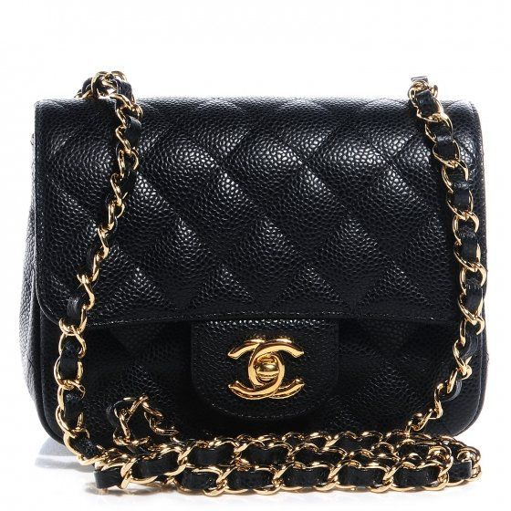 CHANEL Caviar Quilted Mini Square Flap Bag Black  5620671edc9ea