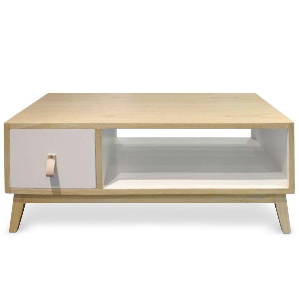 Table basse avec tiroir style scandinave fjord blanc home decoration pinterest table basse - Table basse ronde avec tiroir ...
