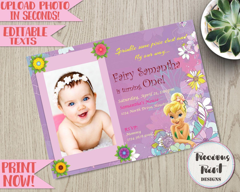 Tinkerbell Birthday Invitation Editable Fairy Instant Etsy In 2021 Tinkerbell Invitations Birthday Invitations Christening Thank You Cards