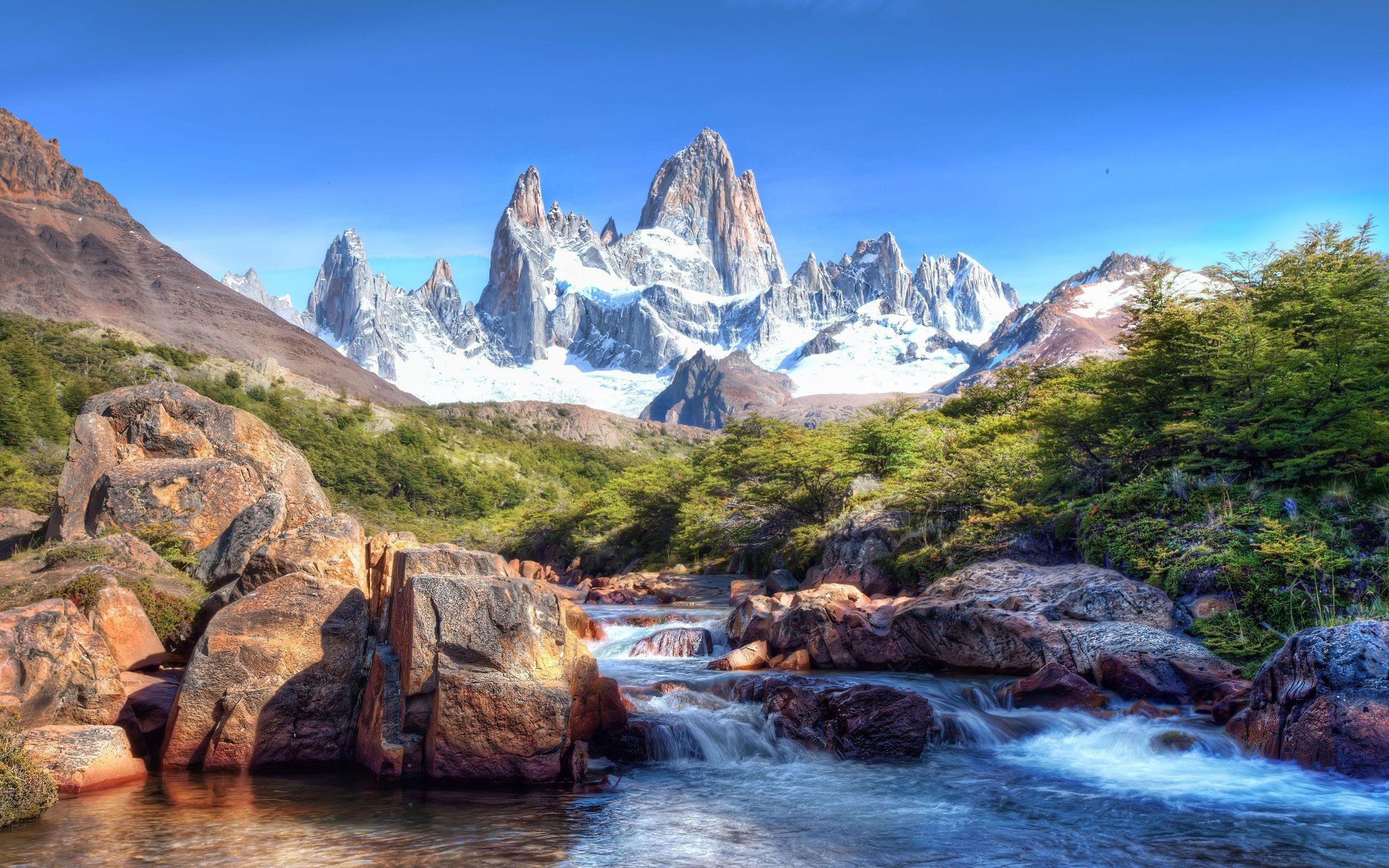 Обои горы, вода, река, уступы, камни, природа картинки на ...