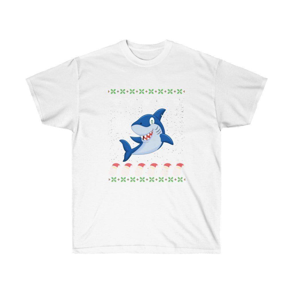 Photo of Japanese Shark Anime Aesthetic Ugly Christmas Cute Unisex T-shirt – White / L