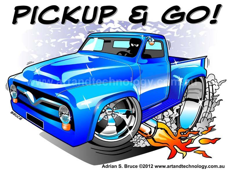Cartoons Pickup Trucks Cartoon Hotrod Truck Art Car Cartoon