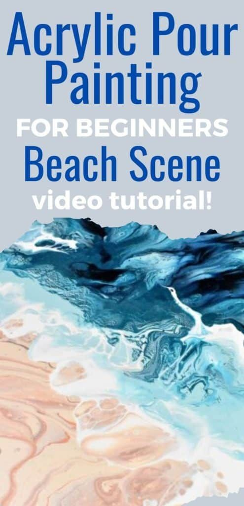 Awesome acrylic paint pouring beach scene video tutorial for beginners!