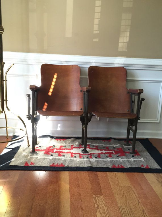 Movie Theater Chairs. Entryway Furniture. Wood. Iron. Folding Cinema