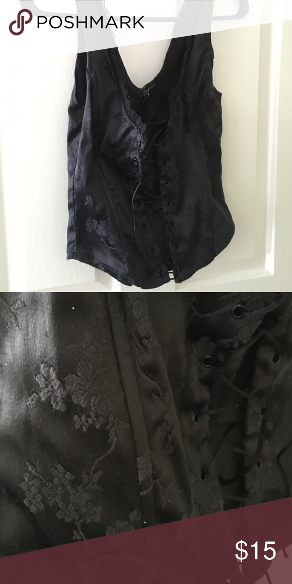 Black lace up corset top Satin black lace up corset top with black detailing Tops