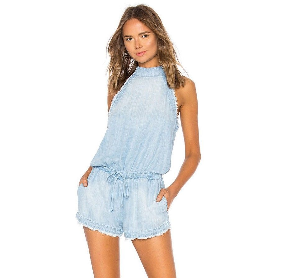 62a0f3fe6d61 Anthropologie Cloth Stone Zip Back Frayed Romper M Blue Chambray ...