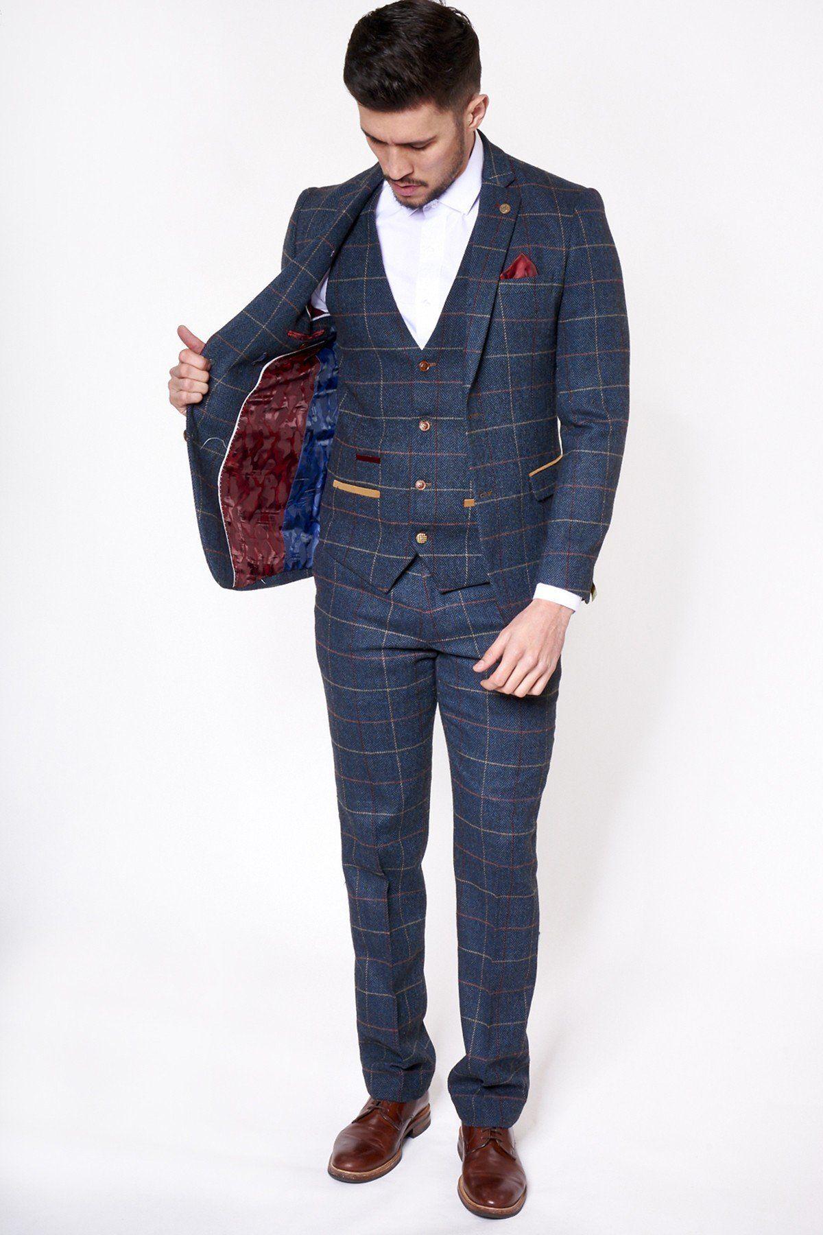Marc Darcy Mens Vintage Wool Look Check Waistcoat Eton Navy Blue